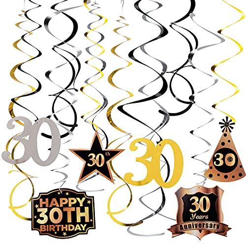 Guirnalda Colgante Remolino Cumpleaños 30 Años Juego de Decoración Espiral Happy Birthday Banner Feliz Cumpleaños Adorno Decorativo para Fiesta de Cumpleaños