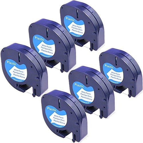 Karl Aiken - Cinta adhesiva para etiquetas Dymo Letratag LT QX50 LT-100H, cinta de plástico negro sobre blanco, 12 mm x 4 m (91331)