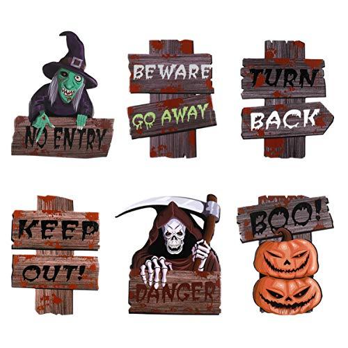 Wakauto 6 Piezas/Juego de Letreros de Jardín de Halloween con 12 Estacas de Plástico (13.78 Pulgadas) Letreros de Plástico Corrugado Letrero de Césped Letreros de Cuidado Estacas de