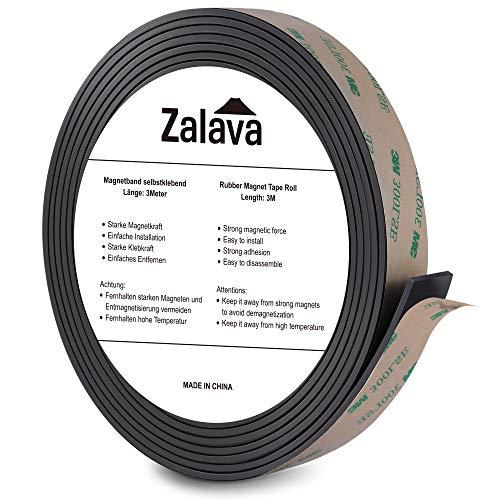 Zalava Magnetband selbstklebend | Magnetklebeband | Magnetstreifen | Magnetisches klebeband | Verdicken, 3M x 15mm Klebstoff, individuell zuschneidbar für Fliegengitter Schule & Präsentation