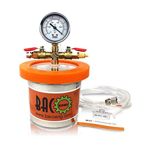 BACOENG 1.2 Liter Vakuumkammer Edelstahl Vakuum Entgasungskammer (Durchmesser 11.5CM/ Hoch 10CM)