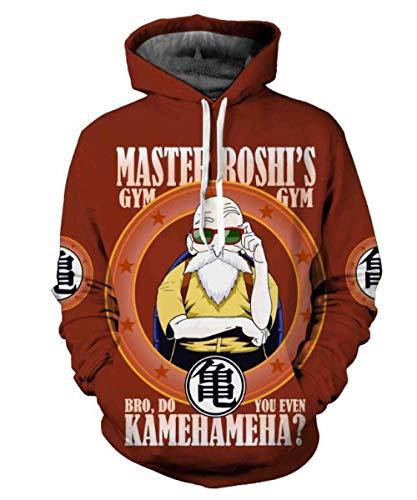MSHAQT Hoodies,Unisex Anime Dragon Ball Master Roshi 3D Hooded Coat Mens Sweater Sweatshirt Super Dry Crimson L