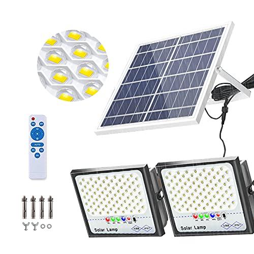 XEX Proyector Solar Sensor Luz Exteriores 2 * 500W, 164 LED Luz De Inundación Solares Exterior Batería De Gran Capacidad, 6500K Foco Solar Jardin Impermeable con Cables(Size:2 * 500W)