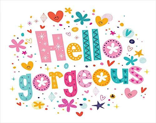 Y·JIANG Hello Gorgeous pintura por números, tema de niña palabras Hello Gorgeous lienzo acrílico pintura al óleo por números para adultos niños decoración de la pared del hogar, 40,6 x 50,8 cm