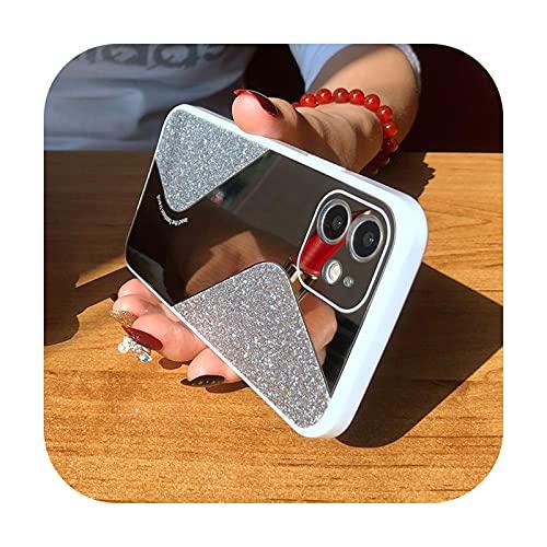 Bling Glitter Maquillaje espejo teléfono caso para iPhone 12 11 Pro MAX Mini X XS XR 8 7 Plus SE 2 2020 lujo silicona a prueba de golpes cubierta plata para iPhone XS MAX