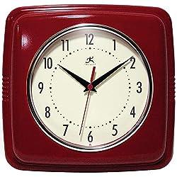 Infinity Instruments Square Silent Retro 9 inch Mid Century Modern Kitchen Diner Retro Wall Clock Quartz Sweep Movement (Red)
