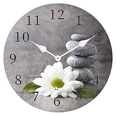 ATEDEANEI Silent Decorative Non-Ticking Wall Clock Stone Flower Wooden 10 Inch Wall Decor Battery Operated for Bedroom Living Room Kitchen Frameless