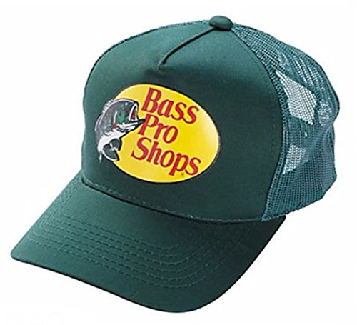 Bass Pro Shop Men's Trucker Hat Mesh Cap - One Size Fits All Snapback Closure - Great for Hunting & Fishing (Green)