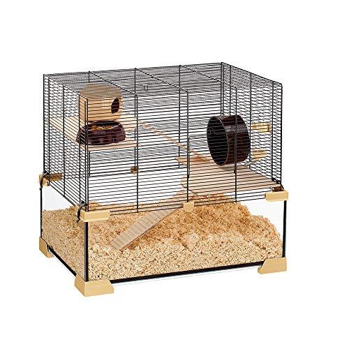 Ferplast Käfig für Hamster oder Mäuse KARAT 60 Kleine Nagetiere, Zwei Ebenen mit Zubehör, aus Glas und Metallgitter