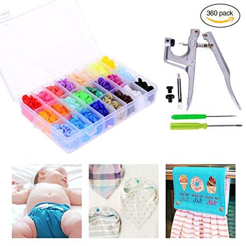 YoungRich 360pcs Snaps Plástico T5 Botones Hebilla Sujetadores Herramientas de Costura Cute 24 Colores con Estuche de Plástico y Snap Alicate para Ropa de Bebé DIY