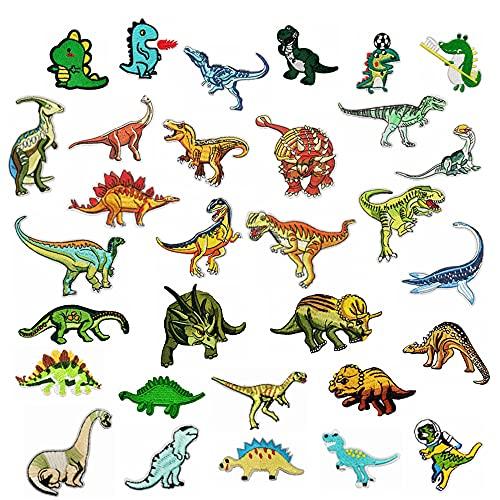 Woohome 32 Stück Patches Zum Aufbügeln, Mixed Dinosaurier Bügelflicken Kinder Aufnäher Applikation Flicke Nähen Sie Dekorations Applikationen Aufkleber für Jeansjacke, Kleidung, Mützen