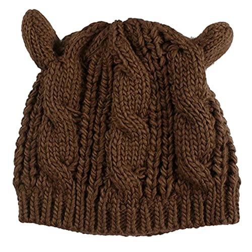 Dingyi Orejas de Gato, Sombrero de Mujer, Bonitos Sombreros de Invierno de Punto, Gorros sólidos, Gorros de Ganchillo, Gorro de Moda, Gorro de Mujer, Sombreros de Invierno para Mujer