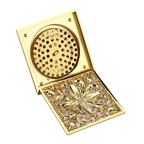 Messing Antik Quadratisch Bodenablauf Dusche Ground Abtropfgestell mit Sieb Filter Drainage Reinigen für Badezimmer Waschraum