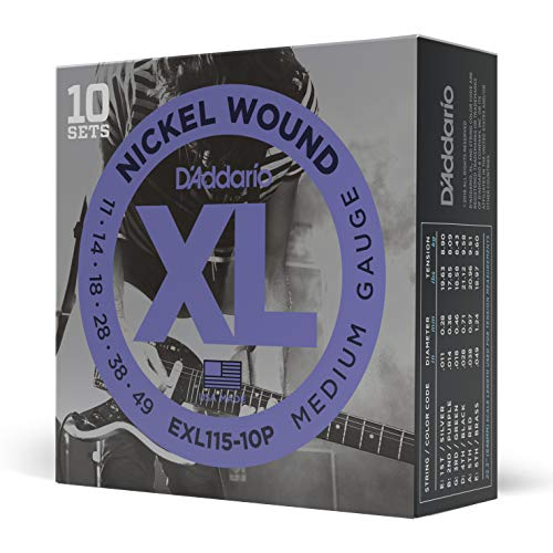 D'Addario EXL115-10P - Juego de cuerdas para guitarra eléctrica de acero y...