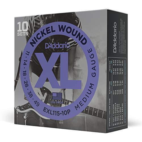D\'Addario EXL115-10P - Juego de cuerdas para guitarra eléctrica de acero y níquel, .011 - .049