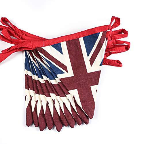 Festone Bandierine Union Jack Festival stile vintage - 100{72c0b282755b576d1da85c11757a4122c4eb23abb593cbce3253ef46786e0725} cotone Bandierine, 5 metri