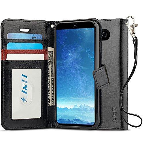 JundD Kompatibel für LG V35/LG V30S/LG V30S ThinQ/LG V30/LG V30 Plus Leder Hülle, [Handytasche mit Standfuß] [Slim Fit] Robust Stoßfest PU Leder Flip Handyhülle Tasche Hülle für LG V35 Hülle - Schwarz