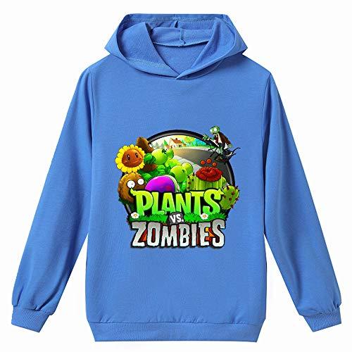 Plants vs. Zombies Pullover Boy Sudadera con Capucha de otoño Simples Tapas Populares Camiseta de los niños Impreso de Manga Larga niños y niñas (Color : Blue04, Size : Height-120cm(Tag 120))