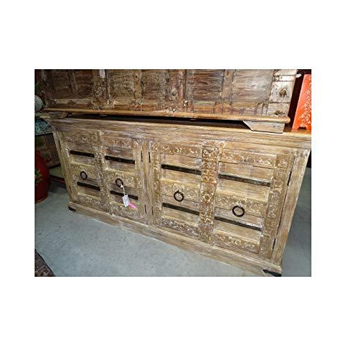 int. d'ailleurs - Aparador Grande con Puertas talladas y travesaño de Acero 184 cm. - PAL434