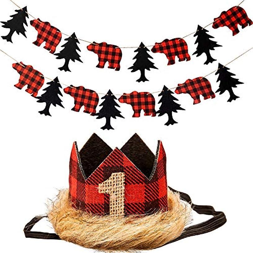 Leinuosen Lumberjack Crown Birthday Hat and Banner for 1st Birthday Hat Woodland Party Banner for Lumberjack, Buffalo Check Plaid Party, Wilderness Birthday Crown, Camping Birthday, Red Black Tan