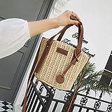 YXYOL Moda Bolsa de Paja para Las Mujeres, Hombro Retro del Bolso de la Playa Bolsa de Mensajero del Bolso Simples Cross-Body Bags, Paja Tejida diseño, Simple Ocio y Elegante