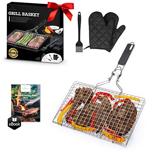 Taranzy Stainless Steel Grilling Basket - Portable and Durable Grill...