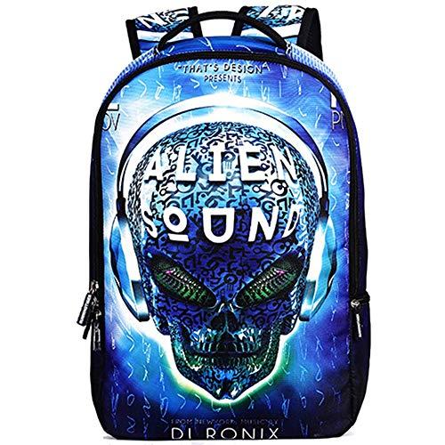 Sebasty Student Business Journey Polyester DJ Skull Pattern School Bag, Suitable For College Students Men And Women Breathable Shoulder Bag