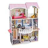 KidKraft- Magnolia Mansion Casa de muñecas de madera con muebles y accesorios incluidos,...