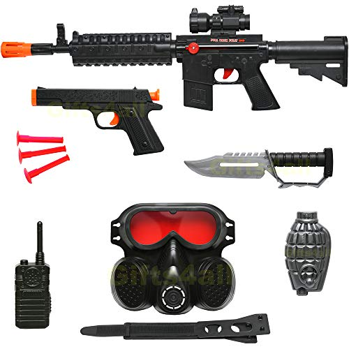 Military Friction Combat Force 7 Piece Boys Toys Playset Boys Action Playset w/ Friction Gun M16  Handcuffs  9 mm Pistol  Headphones  Gas Mask amp Accessories  Kids Military Combat Playset