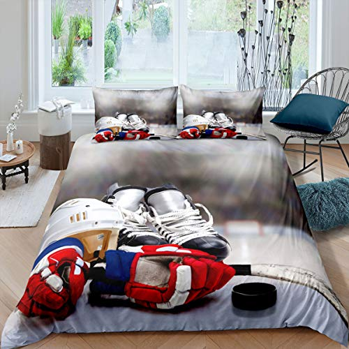 Ice Hockey Bedding Set Queen Size Hockey Player Comforter Cover for Boys Teens Girls Sports Game Event Duvet Cover Youth Kids Soft Microfiber Winter Sports Bedroom Decorative 3 Pieces, Zipper Closure