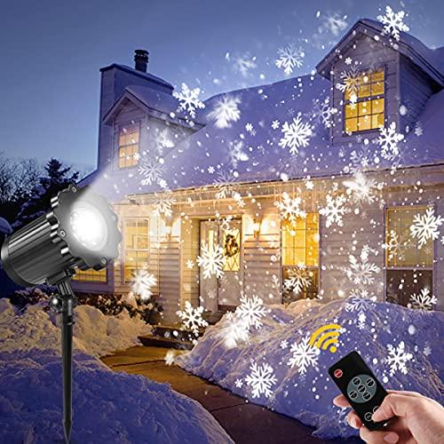 Led projektor weihnachten außen, GreenClick LED weihnachten Schneeflocke Schneefall Projektor lichter mit Timing Fernbedienung wasserdicht projektionslampe für kinder party garten outdoor und Innen