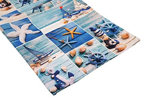 khevga tafelloper maritiem blauw wit zee 40 x 150 cm