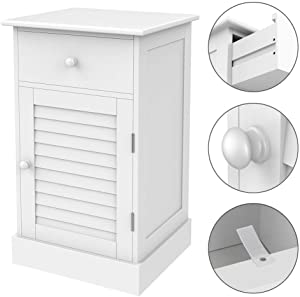 Yaheetech Slim/Small Bedside Cabinet/Table Corner Table with Drawer and Shutter Door Storage Cupboard for Bedroom/Living Room/Hallway/Bathroom 35x30x60cm White