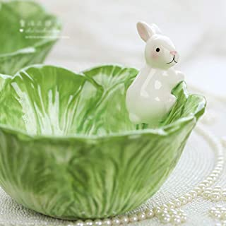 DoubleW Cute Cartoon Green Cabbage with White Rabbit Shaped Ceramic Bowl, Creative Fruit Dish, Partysu Salad Bowl, Kid Rice Bowl, Child Soup Bowl