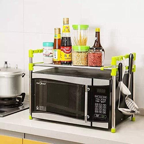 Horno de microondas Microondas Horno Rack Ajustable Cocina Contador Organizador de almacenamiento Encimera Soportes para cocinas Estantería de tostadora con ganchos Guardar espacio Durable Acero inoxi