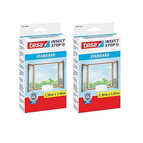 tesa Insect Stop STANDARD Fliegengitter für Fenster (1,3m:1,5m (2er Pack), Weiß (Leichter Sichtschutz))