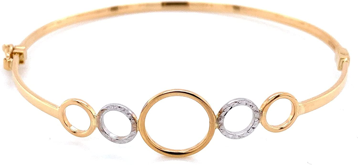 14k Yellow Gold and White Gold Hinged Bangle Bracelet, 7.5 inches