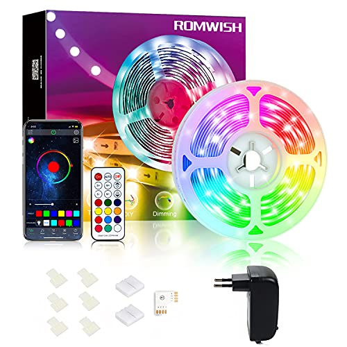 Tira LED 5m Bluetooth, Romwish Luces LED RGBIC Decorativas de Efecto de Arcoíris, Sync con Música, Control remoto y control de APP, para Habitación, Sala de Estar, Fiesta, Bar