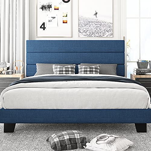Amolife King Size Platform Bed Frame with Headboard and Wood Slat Support, Fabric Upholstered Low Profile Metal Frame Mattress Foundation, No Box Spring Needed, Easy Assembly, Navy Blue