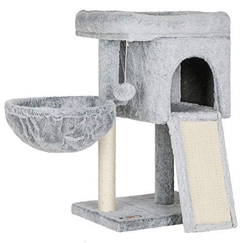 FEANDREA Cat Tree, Cat Condo for Kitten, Padded Perch, Cat Activity Center with Large Scratching Board, Cat Cave, Light Gray UPCT120W01