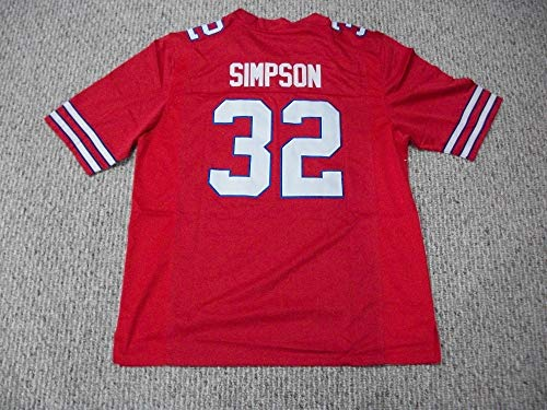 Unsigned O.J. Simpson #32 Buffalo Custom Stitched Red Football Jersey Various Sizes New No Brands/Logos (2XL)