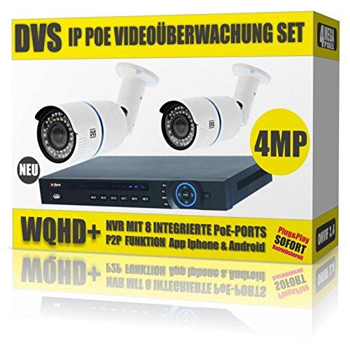 Preisvergleich Produktbild DVS Germany - 4 MEGAPIXEL PoE Videoüberwachung Set mit 2 IP PoE Kameras und PoE NVR - DVDH-IPC2SET1 - 8000GB Festplatte