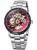 Alienwork Herren Damen mechanische Automatik-Uhr Silber mit Edelstahl Metallarmband schwarz Skelett