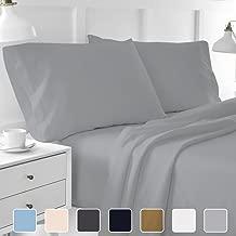 Cottington Lane Short Queen Sheets Soft 100 Percent Cotton- Sheet Set for Short Queen Bed Light Gray 400 Thread Count 15 Inch Super Deep Pocket