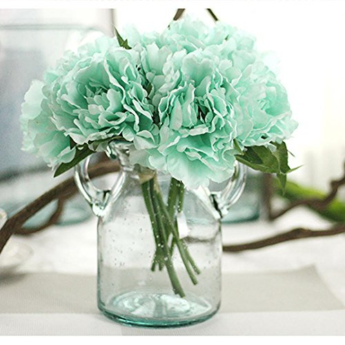 Longra Künstliche Seide gefälschte Blumen Pfingstrose Kunstblume Blumenstrauß Blumen-Bouquet Bridal Bouquet Blume Hochzeit Home Party Dekoration 5 Köpfe Bouquet (D2: 1PC Pfingstrosen)