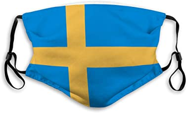 Xunulyn Washable and Reusable Face Shield Swedish Flag Travel Cover