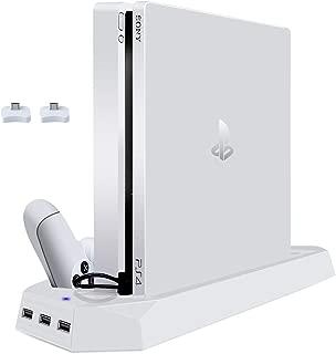 ホワイト PS4 Slimスタンド PS4スリムに対応 プレイステーション4 ps4slim 縦置きスタンド コントローラー2台充電 USBハブ3ポート 冷却ファン2基付き controller 充電スタンド PS4 Slim Stand 日本語説明書付き
