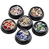 Mwoot Steinchen Set für Nageldesign (6 Boxen), Gemischte Glitzersteine Fingernägel Aufkleben Zubehör, Strassstein Set