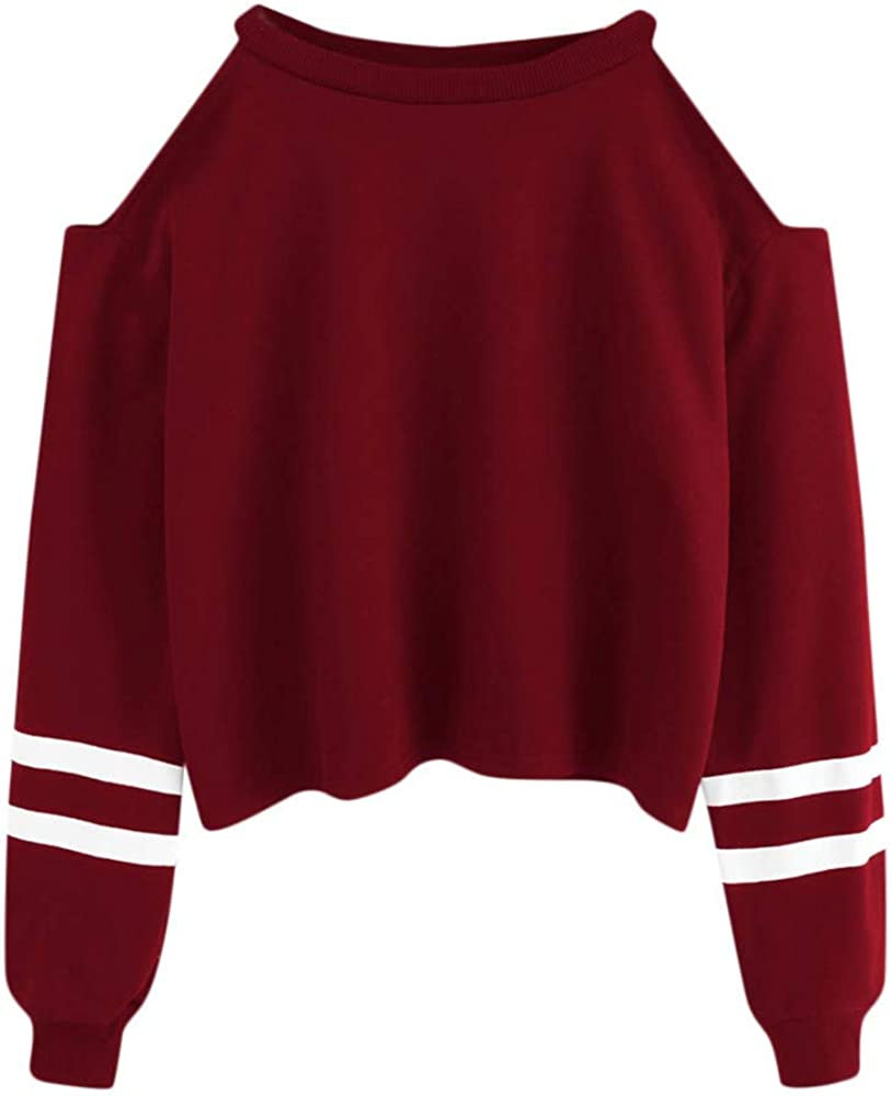 Sweatshirts for Girls, Misaky Cold Shoulder Cropped Sweatshirt Autumn Casual Stripes Crewneck Long Sleeve Tops
