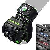 Fox-Fight Extreme Fitness - Guanti da Allenamento in Pelle di Alta qualità, per Bodybuilding e Bodybuilding, Verde, S